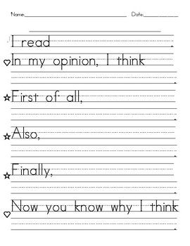 This is writing paper that can be used to help students who are just beginning to write an opinion paper. Sentence frames are provided so that students can trace selected words and then fill in the blank lines. Save money when you Bundle!