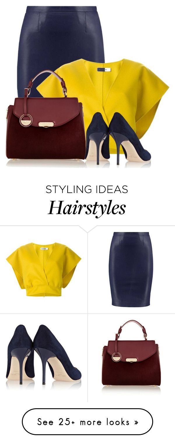 """""""Color Challenge: Burgundy, Blue & Yellow"""" by cassandra-cafone-wright on Polyvore featuring Jil Sander, Versace and Jimmy Choo"""