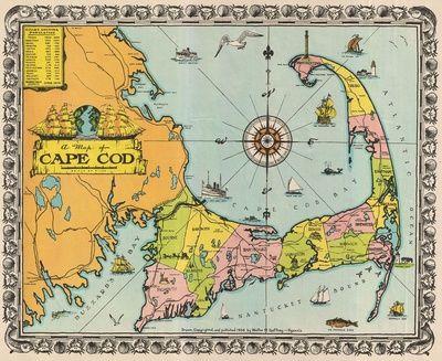 """Vintage Map of Cape Cod"" Art Print by BravuraMedia on Society6."