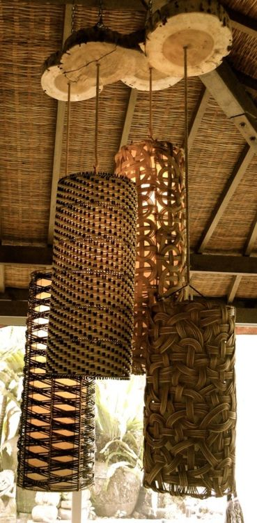 I like the variety of woven shades but especially like the use of natural wood slices at the top.
