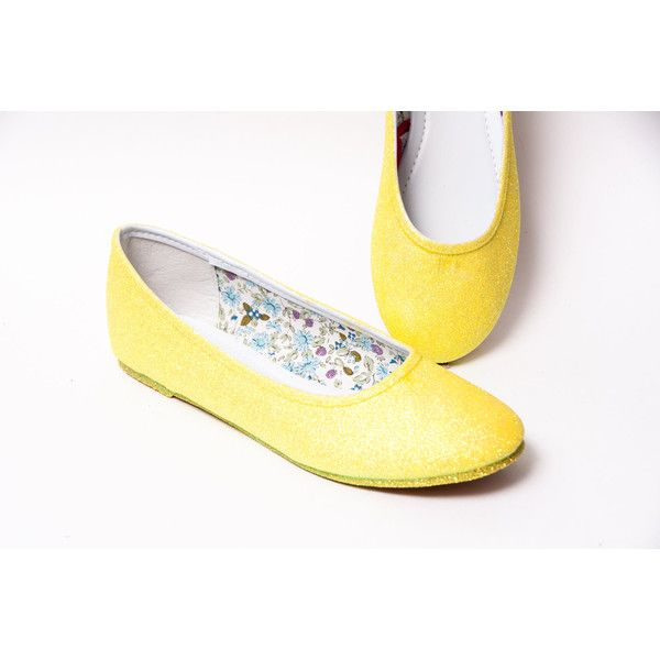 Glitter Lemon Drop Yellow Ballet Flat Slipper Shoes ($50) ❤ liked on Polyvore featuring shoes, flats, ballet shoes, pink, slip ons, women's shoes, pink ballet flats, pink shoes, slip-on shoes and yellow flats