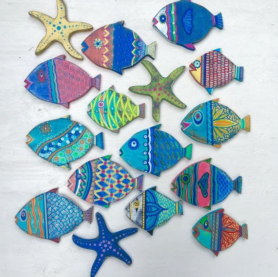 Fish Wall Art Painted Sign Beach House Decor Coastal Nautical Decor by CastawaysHall ONE Small Fish  The colourful hand painted art fish, new to CastawaysHall. Their bright colours and details will add Beach House Style to any space. Display just one or a whole school. Each one is also clear coated so that you can also use them outside. Each one comes ready to hang.  This listing price is for the ONE fish shown in the individual picture only. Other fish shown in the school as well as small…