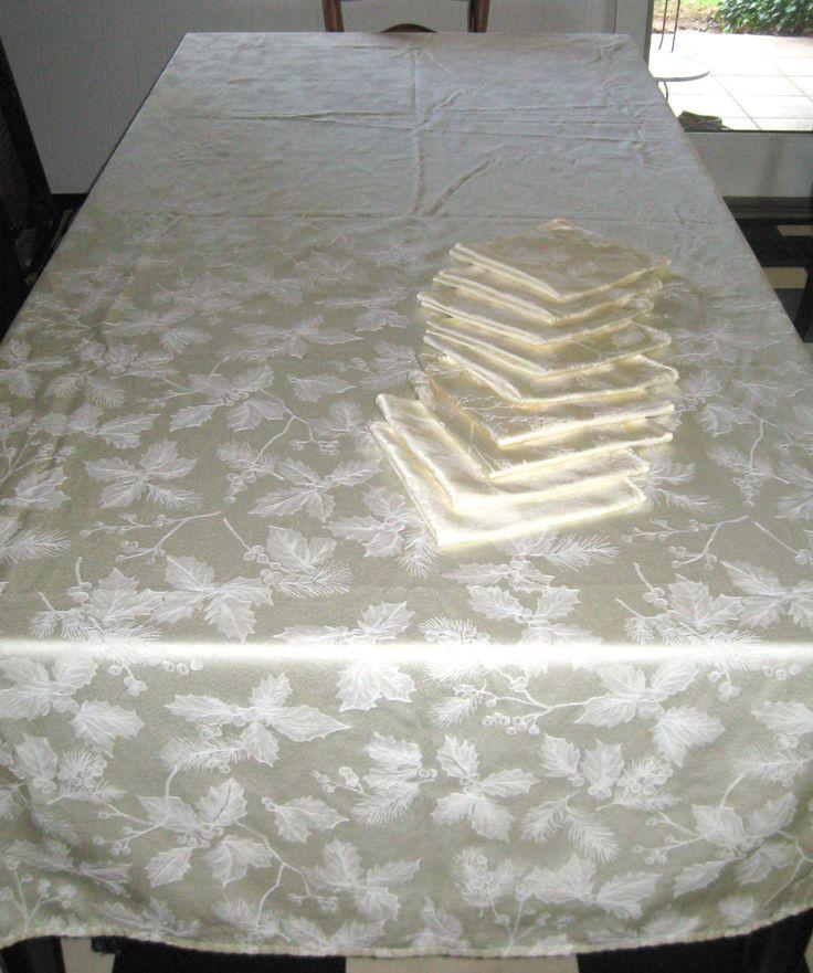 cream Damask Tablecloth . french vanilla damask tablecloth .  very long table cloth . cream xmas tablecloth . xmas tablecloth by vintagous on Etsy