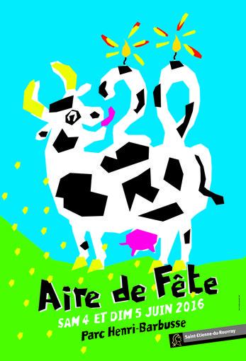 Saint-Etienne-du-Rouvray, vœux 2011, Aire de fête 2016, Aire de fête 2015, fête de la ville, bonne année 2009, Stéphanais, Normandie, vache, dessin, affiche, NTE, Nous Travaillons Ensemble
