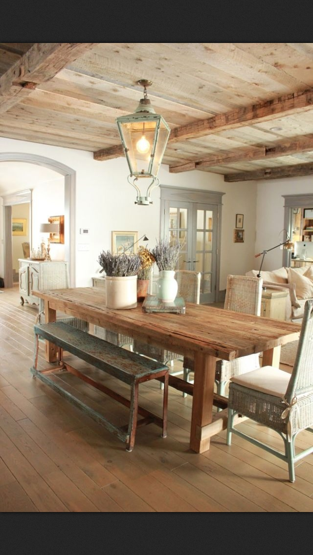 Love a wood celing and a wood floor sheet rock walls for Dining room 640x1136