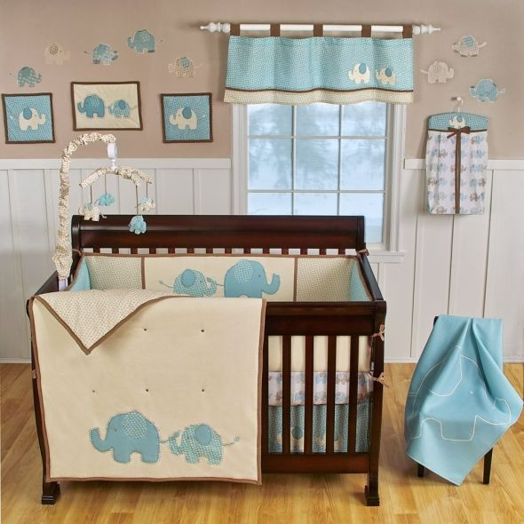 Chocolate Brown And Blue Boy Roomelephant Themed Nurseryelephant
