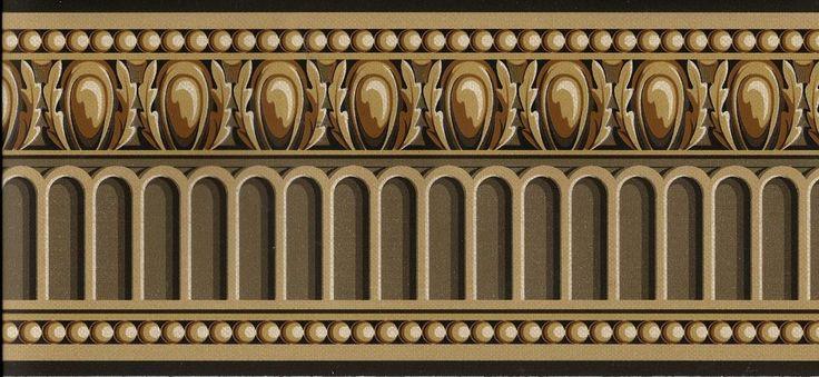 VICTORIAN ARCHITECTURAL TRIM DARK BROWN, GOLD WALLPAPER