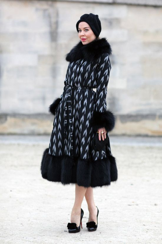 Fur trimmed ikat coat. Paris Fashion Week