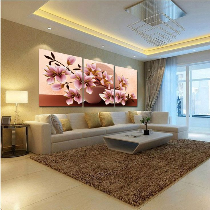Wall Painting Flower Canvas - 3 Modular Pictures