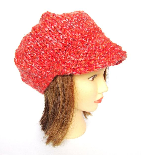 Newsboy hat burnt orange hat knit with wool free by Johannahats, $36.00