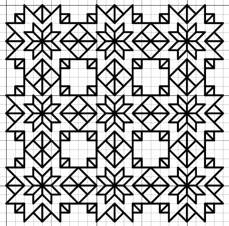 Blackwork Stars Fill Pattern