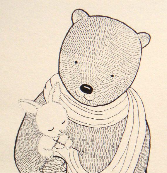 Print Original Ink Drawing Bear Bunny illustration by mikaart, $7.99