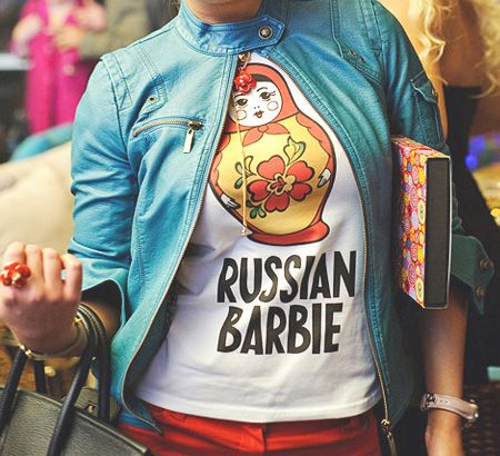 """Russian Barbie matryoshka doll shirt"" Oh I love this!!!"