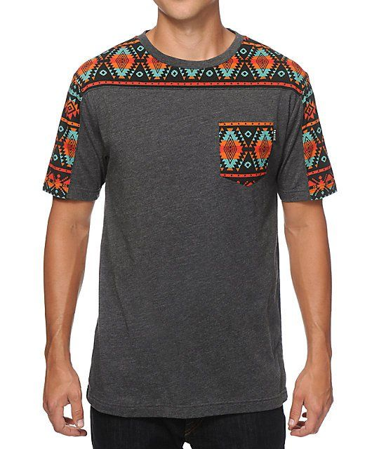 Stand out with a vibrant multicolor tribal print sleeves and shoulders plus a tribal print left chest pocket on a tagless charcoal colorway.