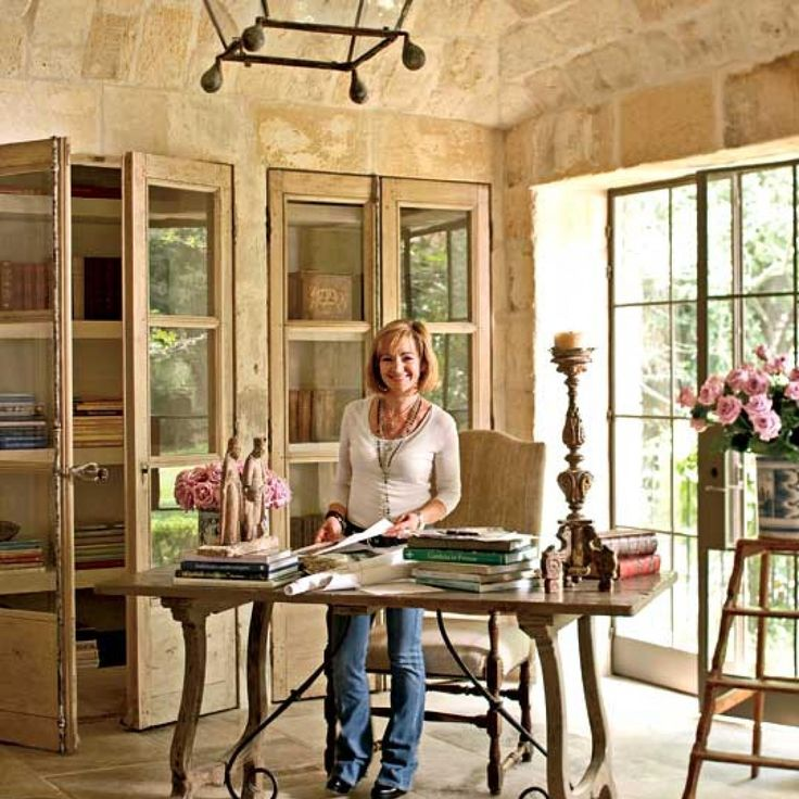 Traditional home european antiques and stone pieces - Home office design ideas with stones trails ...