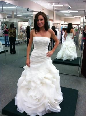 Fresh Vera Wang Davids Bridal DB Organza Fit and Flare Gown with Bias Flange Skirt Style