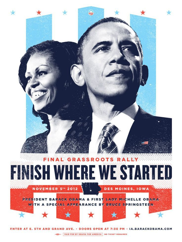 Posters for various rallies and events during Barack Obama's 2012 Presidential Campaign.