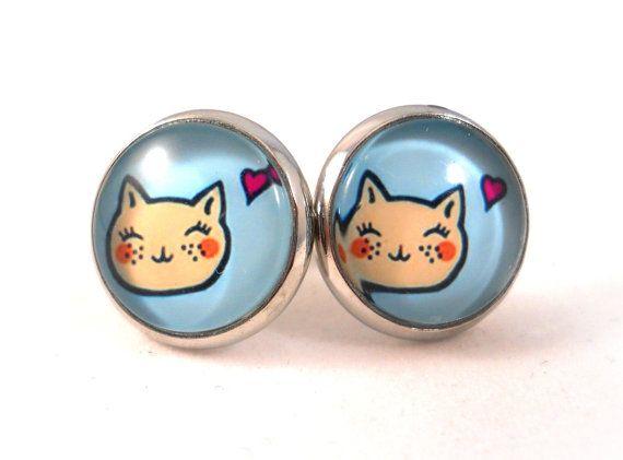 Happy Cat Earrings Cat Jewelry for Cat Lovers by foreverandrea