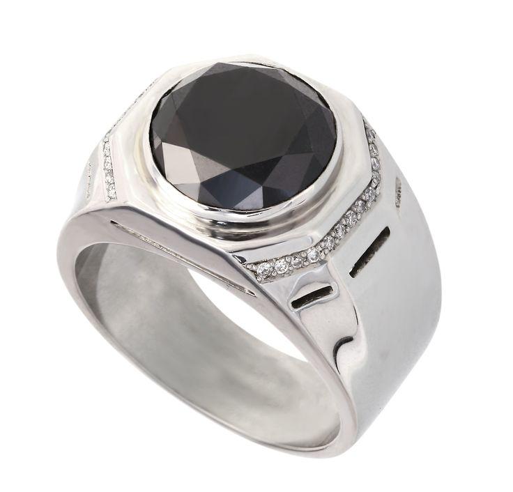 Мужской перстень - золото 585/750* - черные /белые бриллианты