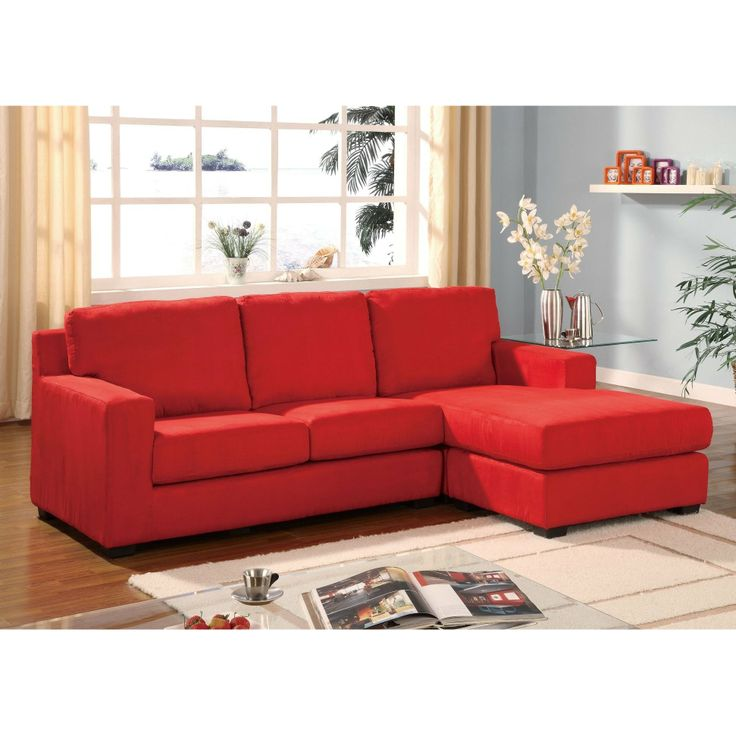 Features microfiber fabric upholstered sofa and ottoman chaise. Sectional Measures x D x H x L chaise.  sc 1 st  Pinterest : sectional with ottoman and chaise - Sectionals, Sofas & Couches