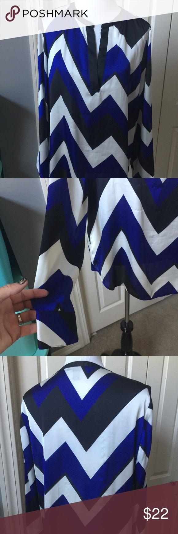 Black blue and white chevron blouse 100% polyester Lauren Ralph Lauren Tops Blouses