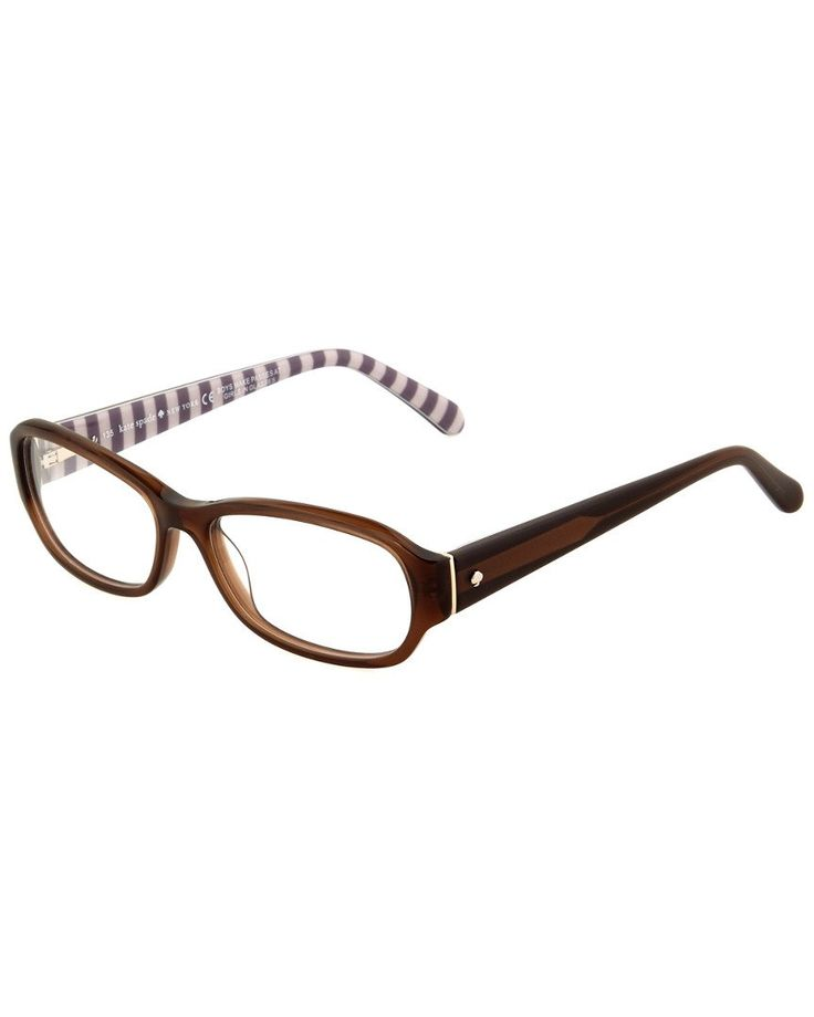 Kate Spade New York Womens Women's Karly Optical Frames. Please note: This is an optical frame with a demo lens. Frames can be filled with prescription lensesby an optician. Frame shape: oval. Frame color: transparent brown. These frames flatter those with an oval diamond or square shaped face. Logo at temples.