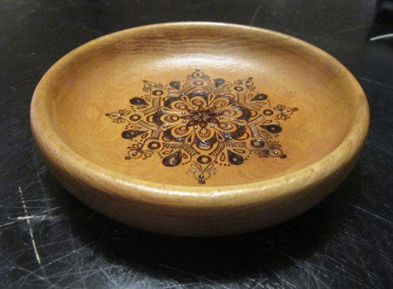 Small Mandala Wood Burned Bowl by tuffjulz on Etsy