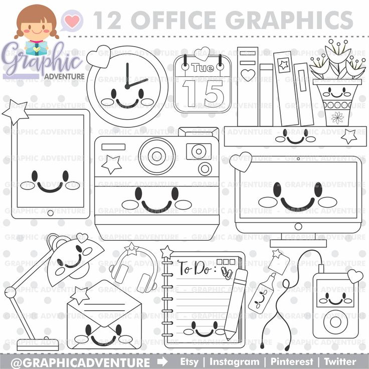 75%OFF - Office Stuff Stamp, COMMERCIAL USE, Digi Stamp, Digital Image, Office Digistamp, Office Coloring Page, Office Clipart, Digistamp