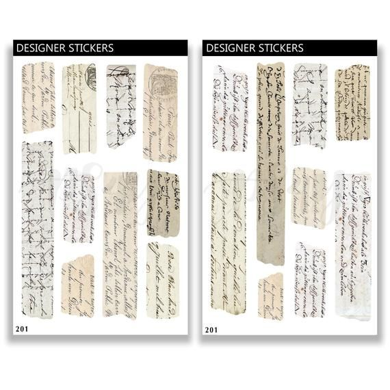 Vintage Letter Handwritten Stickers Retro Letters Washi Tape Etsy In 2020 Vintage Lettering Journal Stickers Washi Tape Planner
