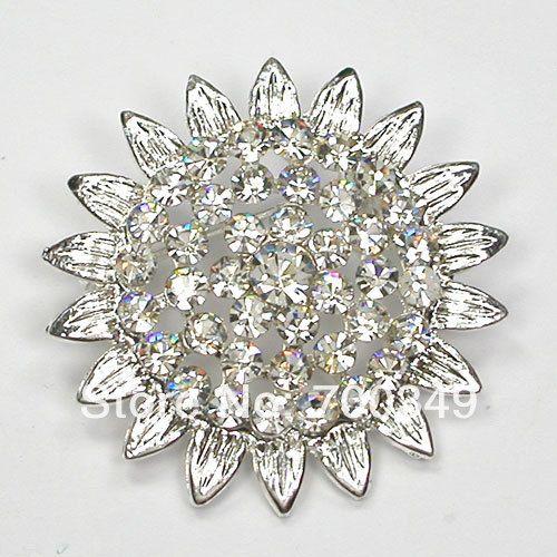 Посеребрение 12 piece/lot прозрачный кристалл горный хрусталь Sunflower брошь булавка свадьба ну вечеринку пром ювелирные изделия C2066 макияж-1