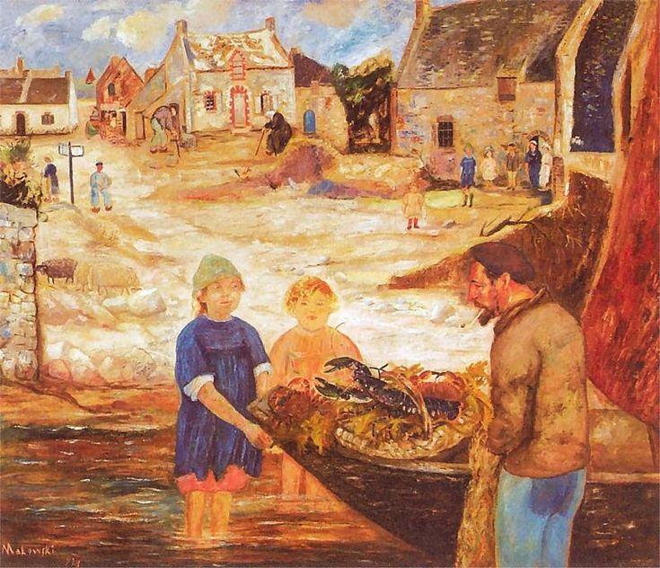 Powrót z połowu raków. Obraz z 1924 roku.
