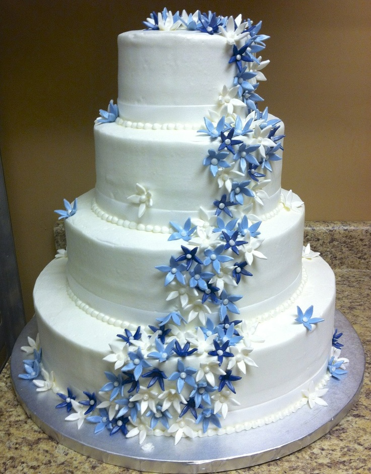 blue flower wedding cake buffalo brides ohlson s bakery wedding cake with blue 11984