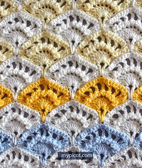 Crochet Textured Shell Stitch Tutorial - (mypicot)
