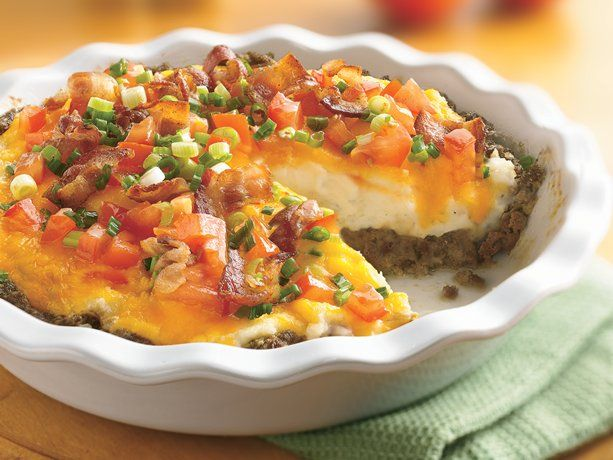 Ground Beef and Twice-Baked Potato Pie...No time for twice-baked? Get the same great flavor with refrigerated mashed potatoes. Then spread over a hearty ground beef filling.
