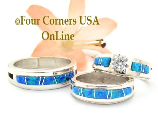 Nice Blue Opal Engagement Wedding Ring Sets Native American Jewelry