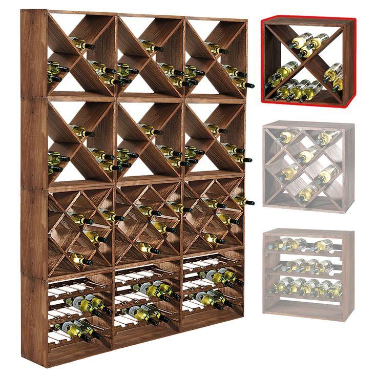Système d'étagère à vin CUBE 50 tobacco module 1 X - H50 x L50 x P25 cm: Amazon.fr: Cuisine & Maison