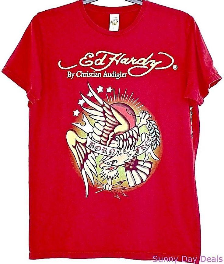 Ed Hardy Mens T Shirt Vintage Cotton Born Free Burgundy Christian Audigier L  #EdHardy #GraphicTee