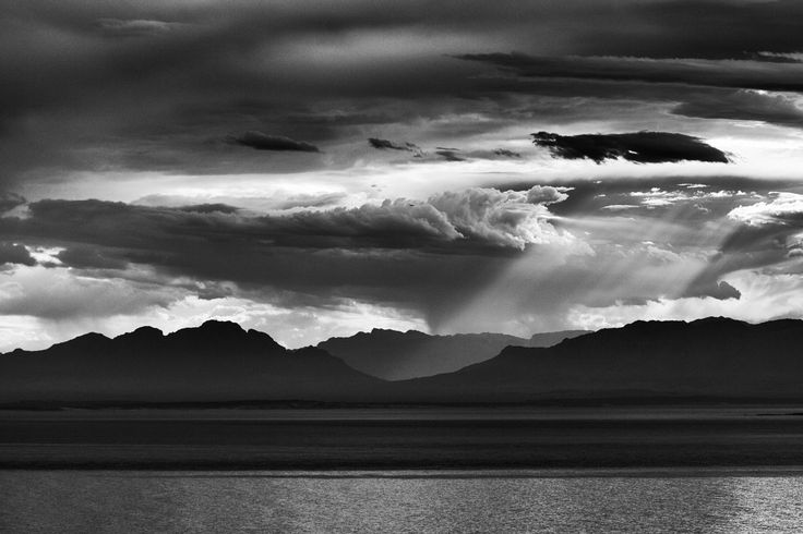 Morning light streams through the clouds across #FalseBay, #CapeTown