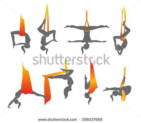 Flying yoga logo templates set. Anti-gravity yoga. Aerial yoga - stock vector