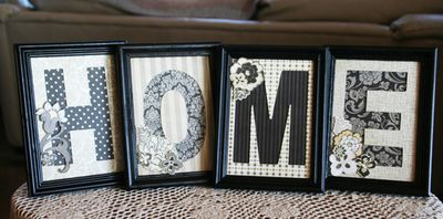 "Basic Grey Monogram Frames- EASY home decor -- how about it says ""FAMILY""  and we post it over our photograph wall....."