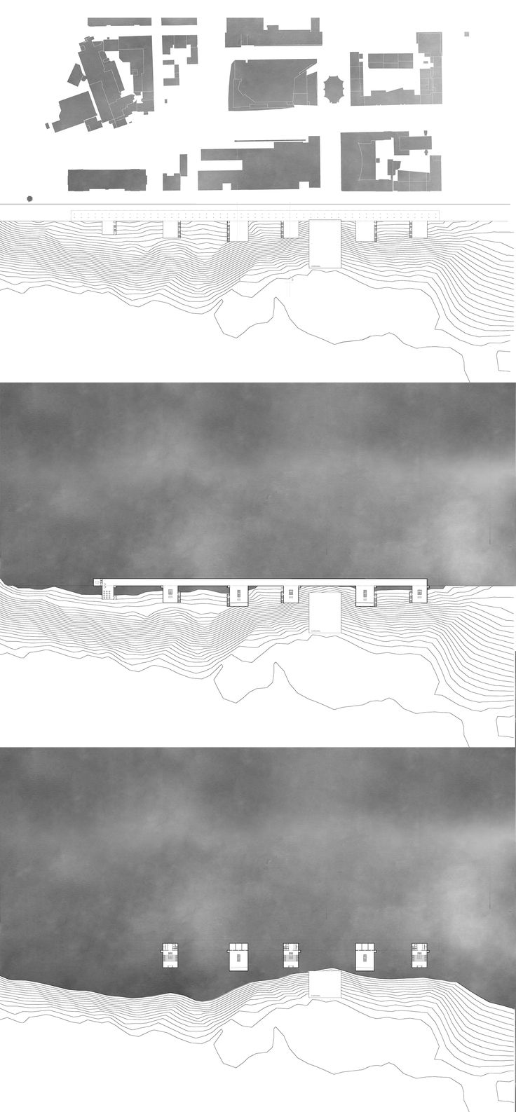 Plan presentation of multifunctional pavilions located in Kassel, Germany. Each pavilion contains another function, depends on current city's needs. Music, literatur, movie, exhibition and DOCUmenta archive pavilion. Architecture on hill. Author : Mateusz Pietryga