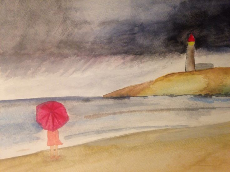 Stormy day in the beach watercolor