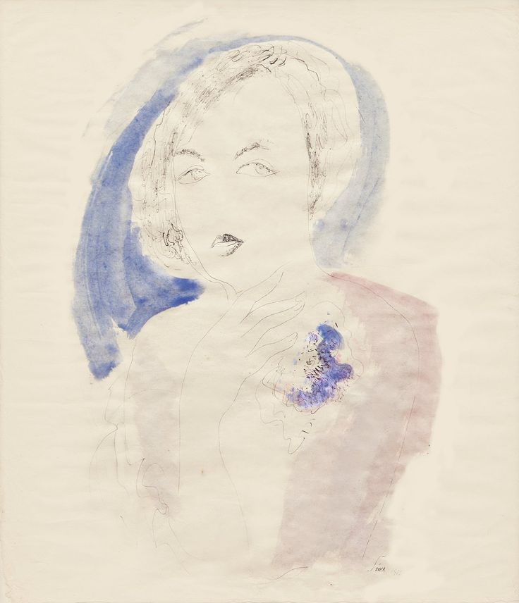 Mimořádně půvabná kresba Josefa Šímy - Podobizna ženy, je skvělou ukázkou Šímova intuitivního vhledu, podpořeného mimořádným výtvarným talentem. Z kresby je patrné, že žena Šímu velmi zaujala, nechal vyznít její tělo, které jako by se rodilo z prázdna plochy...  Tuš a akvarel na papíře, 71 x 61 cm, rámováno, pod sklem, datace 1926, signováno vpravo dole ŠÍMA 1926  Odborný posudek: PhDr. Karel Srp