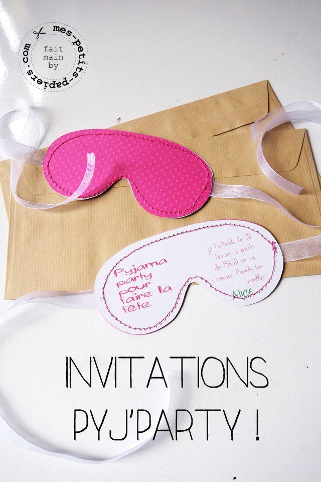 Les invitations ne sont pas à délaisser ! Découpez dans du papier coloré la forme d'un masque de nuit, il faudra ensuite accrocher un ruban de chaque côté du masque. Enfin, écrire toutes les détails de la pyjama party comme le lieu, la date et l'heure !