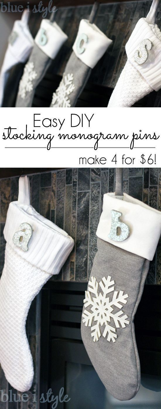SO EASY & PRETTY! Create your own Christmas stocking monogram pins. This DIY project only takes a few minutes, and you can create four for only $6!