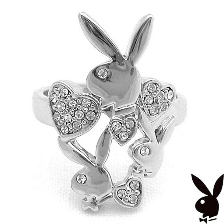 Playboy Ring Hearts Bunny Logo Swarovski Crystals Silver Plated Size 9 NOS #Playboy #Statement
