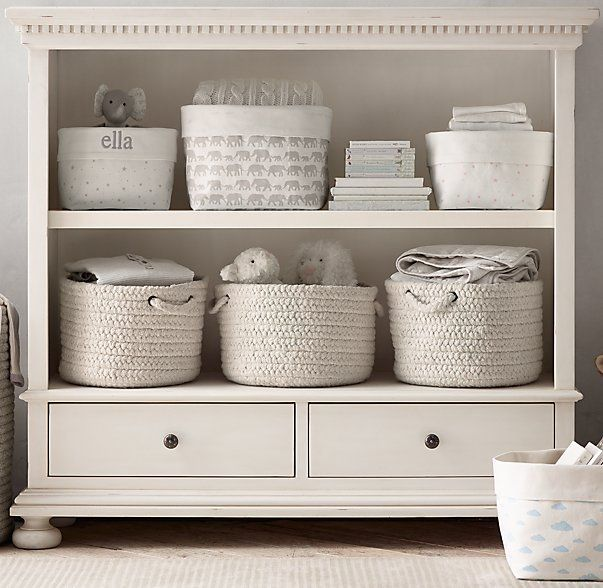 RH baby&child's Nursery Canvas Storage - Grey Elephant:Marching elephants and curious bunnies, twinkling stars and floating clouds – our favorite childhood themes transform durable cotton canvas into a sweet storage solution for the nursery.