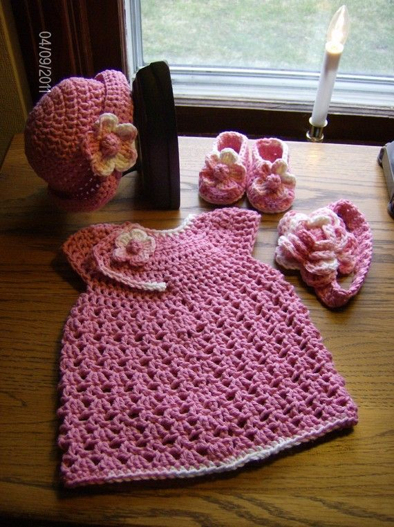 Caroline's homecoming outfit????Crocheted Infant Newborn Baby Girl Set Pink by Flamencreations, $32.00