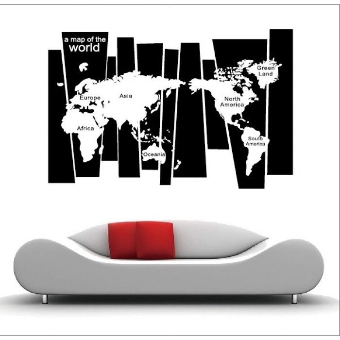 Wall Decals For The Office. World Map Wall Decal. Black And White Map. Pictures Gallery