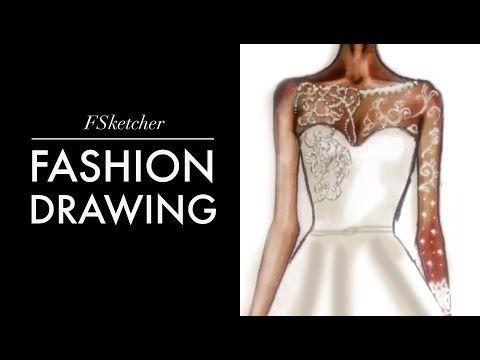 WEDDING DRESS Fashion Drawing Tutorial - YouTube